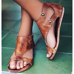 Shoes - Tan Flat Faux Leather Gladiator Slide Sandals